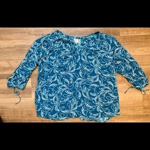 Aqua patterned blouse with mid length sleeves